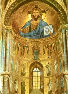 Apse mosaic in the Cathedral of Cefalu, Sicily; Completed in 1148; In the 2 lowest registers are the Apostles. In the next register is the Theotokos, extending her hands to 4 archangels. Above is the Pantocreator (the Cefalu Christ appears senistive & merciful here, right hand outstretched in blessing) upholding the Gospel of John 8:12. Indeed, light radiates throughout Byzantine art mosaics, due to sublet gradations of hue.