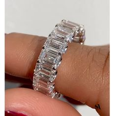 Gorgeous Emerald Cut Diamond rectangular shape long lines gives the stone an elegant look. As shown in the video Emerald cts each stone in all its glory ! Asscher Cut Diamond Ring, Emerald Cut Diamonds, Diamond Wedding Rings, Wedding Ring Bands, Diamond Rings, Diamond Cuts, Pink Diamonds, Gold Rings, Emerald Eternity Band