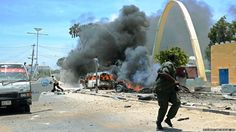 At least eight people have been killed in a massive car bomb in the centre of Somalia's capital, Mogadishu, police have said. The BBC's Mohamed Moalimuu at the scene says a suspected suicide bomber blew up the car near the presidential palace.