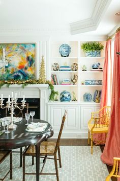 Coral Dining Room - Cary Nichols Christmas Home Tour with a Touch of Glamour