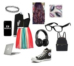 """""""School"""" by dirtynathanielx on Polyvore featuring Converse, Moschino, Henri Bendel, Ray-Ban, Beats by Dr. Dre, Speck, women's clothing, women, female and woman"""