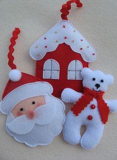 Resultado de imagem para ideas for felt christmas decorations Felt Christmas Decorations, Felt Christmas Ornaments, Christmas Fun, Father Christmas, Christmas Things, Christmas Wrapping, Christmas Projects, Felt Crafts, Holiday Crafts