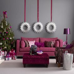 Grey walls with fuchsia.