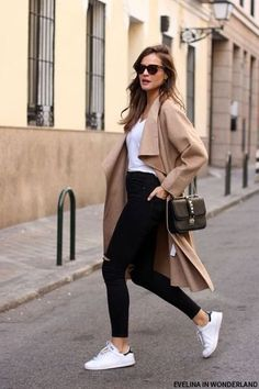 @roressclothes closet ideas #women fashion outfit #clothing style apparel  Long Coat and White Shoes
