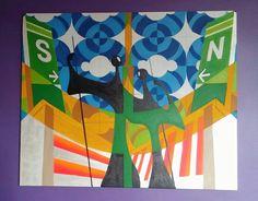 Brasilangos & Candanlienses Obra: em andamento. Acrílico sobre tela. Asa Sul e Norte/ Céu de Azulejos/ Blocos/ Candangos/ Avião  #brasiliadf #arte #art #paint #colors