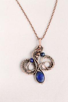 Lapis lazuli pendant wire wrap pendant wire by LenaSinelnikArt