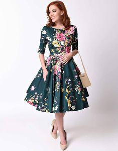 Sukienka vintage pin up butelkowa zieleń rozkloszowana midi