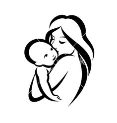 Mother and baby silhouette, sketch in stock illustration 125516381 - mother and baby stylized vector symbol - Baby Silhouette, Silhouette Tattoos, Mother And Baby Tattoo, Mother Tattoos, Baby Tattoos, Tatoos, Mother Art, Mother And Child, Simbolos Tattoo