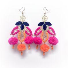 Moroccan Pom Pom Earrings - Pink | Katie Kime