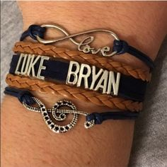 Luke Bryan Bracelet✨LAST ONE✨ Great bracelet for a Luke Bryan fan! This cute bracelet measures about 7 inches plus it has an additional chain extender and lobster clasp on the back. New in package. Price is firm unless bundled. Jewelry Bracelets