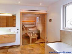 Einbausauna in Hemlock mit Glasfront - Ansicht von schräg links Alcove, Bathtub, Bathroom, Standing Bath, Washroom, Bathtubs, Bath Tube, Full Bath, Bath