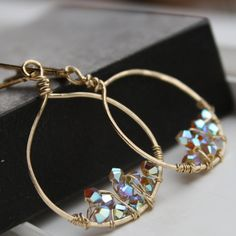 Hand forged Gold Earrings with Opal Swarovski by ChristineC, $22.00