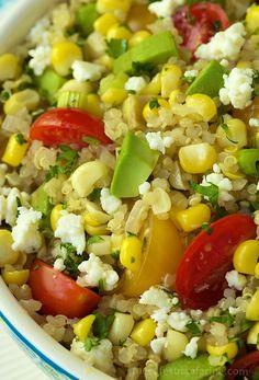 Fresh Corn & Avocado Quinoa, so fresh and delicious. There's never a speck left in the bowl!