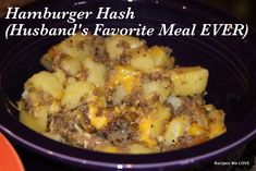 Hamburger Hash  Bag of frozen diced potatoes (you can cut your own but frozen make it a bit faster) about a pound of browned hamburger 1 onion diced Veg. oil 2-3 cups shredded cheddar cheese salt, pepper, garlic to taste