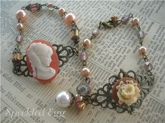 Vintage Inspired Jewelry Making - Cameo Bracelets | Flickr - Photo Sharing! There's that filigree I love so much.