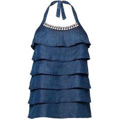 Top a balze in denim blu con - Top e Camicie - Liu Dress Skirt, Dress Up, Sewing Alterations, Jean Top, Liu Jo, E Design, Jeans Style, Chambray, Blue Jeans