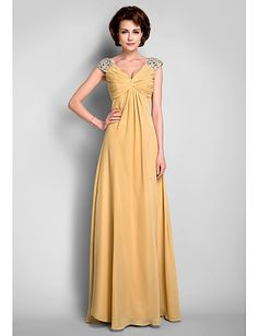 A-Line V-neck Floor Length Chiffon Mother of the Bride Dress with Beading Draping Criss Cross by LAN TING BRIDE®