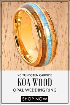 YG Plated Koa Wood Opal Tungsten Wedding Ring Triple Row Men's Ring Source by baabaa_mom Opal Wedding Rings, Tungsten Wedding Rings, Opal Rings, Wedding Bands, Wood Rings, Wedding In The Woods, Plaque, Unique Jewelry, Rings For Men