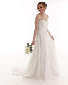 Strapless chiffon beach wedding dress from Kaela Bridal