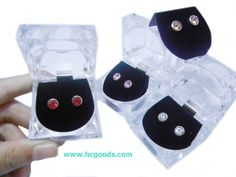 Magnetic Earrings - Clear Round CZ Magnetic Earring - Small