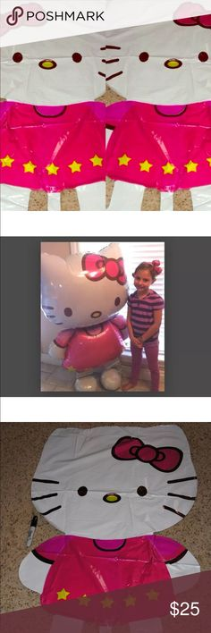 """HELLO KITTY Giant Balloon 43"""" uninflated Balloons Two count HELLO KITTY Giant Gliding Birthday Party Balloon 43"""" uninflated Balloons In order for the balloon to stand, you must put Helium!Helium not included Legal Disclaimer WARNING: CHOKING HAZARD - Children under 8 years can choke or suffocate on uninflated or broken balloons. Adult supervision required.  Retail's for $19.99 each   Please note Ships uninflated Order 311 Hello Kitty Accessories"""