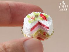 Triple Layer Cake Decorated with Red Currants, Blossoms - Miniature Food for…