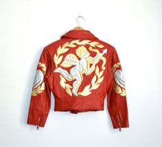 Vintage RED Leather Motorcycle Jacket by North Beach Michael Hoban// RED Metallic Leather Jacket with Cupid & Hearts