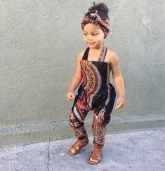 African Ankara Dashiki Print Jumpsuit Outfit - Baby Girl Toddler Kids - sizes - Black Dashiki - Jumpsuits and Romper Ankara Styles For Kids, African Dresses For Kids, Latest African Fashion Dresses, African Print Fashion, African Babies, African Prints, Ankara Fashion, Cute Kids Fashion, Little Girl Fashion