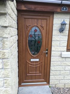 Create a traditional looking front entryway with any of our Oak uPVC Front Doors. The tulip glass design within this uPVC Front Door beautifully enhances the doors traditional appearance. At Value Doors we love Coloured uPVC doors! Exterior Oak Doors, Upvc Patio Doors, Door Installation, Wood Exterior Door, Upvc Exterior Doors, Window Trim Exterior, Door Handles, Painted Front Doors, Upvc