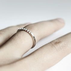 Pyramid row - sterling silver tiny studs ring