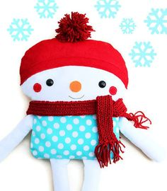 Snowman Sewing Pattern Winter Holiday Christmas PDF Softie Doll Sewing Pattern. $10.00, via Etsy.