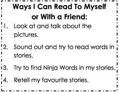 Mrs FDK Doyle: Kindergarten Reading Success Criteria Poster: Ways I Can Read to Myself or with a Friend Kindergarten Assessment, Assessment For Learning, Learning Goals, Kindergarten Reading, Early Learning, Popcorn Words, Read To Self, Visible Learning, Writing Curriculum