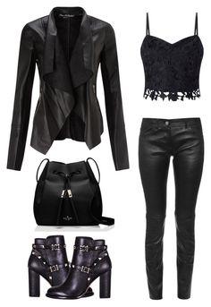 """All black"" by ildiko-olsa ❤ liked on Polyvore featuring Valentino, Miss Selfridge, Kate Spade, Lipsy and Balenciaga"