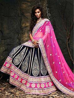 Blue with Pink Color Heavy Embroidery #Bridal #Lehenga Choli Dupatta