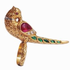 Mughal-style gold, ruby, # emerald and diamond parrot ring. munnugempalace