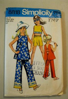 1970 Girls Pants Top Pattern Size 10 Simplicity by QuiltCitySue, $5.00