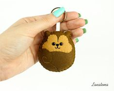 Felt Keychain. Kawaii Animal Plush. Squirrel Round Keyring. Homemade Stuffed Women Keyring. Gift For Him Under 20. Girlfriend Birthday