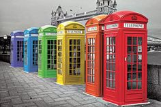 Londres - Londres - phoneboxes colour pósters | láminas | fotos