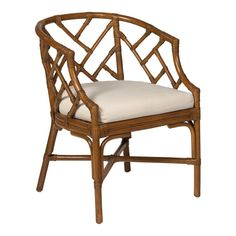 Chippendale style club chair made out of solid rattan frame with loose cushion. Stylish and extremely comfortable accent or dining chair. Shown in Chestnut.  Each design is developed with great care and attention to detail woven by true artisans in the Philippines. Our products are all natural and we recommend indoor or covered porch use only. Rattan Armchair, Wicker Chairs, Wicker Furniture, Dining Room Chairs, Club Chairs, Side Chairs, Lounge Chairs, Office Chairs, Bamboo Chairs