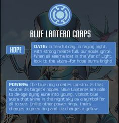 If I was a Lantern. I would be a Blue Lantern. I know the oath by heart. :) - Visit to grab an amazing super hero shirt now on sale! Comic Book Characters, Comic Character, Comic Books, Lantern Corps Oaths, Gi Joe, Blue Lantern Corps, Superhero Facts, Pokemon, Fandoms