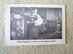 Carrie Ingalls at work as a newspaperwoman, real photo postcard.