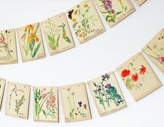 Paper Bunting. Summer and Spring Garland. Upcycled. The Country Diary of an Edwardian Lady. Eco-friendly. Wedding Banner. Home Decor.