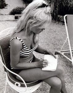Bridget bardot. Striped bikini!