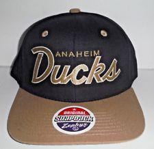 9b31538b4c5 ANAHEIM DUCKS SCRIPT BLACK  TAN NEW RETRO NHL SNAPBACK CAP ZEPHYR NWT HAT  FREE RETURNS!