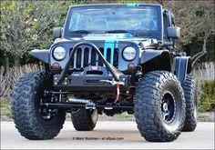 Mopar 6.4-liter HEMI V-8 engine Jeep JK Lifted Black and Blue Rallye Stripe, Tow Bar and Winch