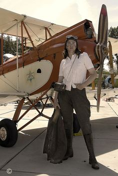 Me as a 1930''s aviator at a airplane event with a DeHavilland DH60 Gypsy Moth.  Aviodrome Aviation Themepark    Ode to Amelia Earheart and all those other female aviation pioneers.    © Foto Cornel Baumbach  Historical Consultancy 30-45  www.hab3045.nl