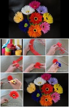 paper flower tutorial how-to-make-paper-flowers-out-of-crepe-streamers How To Make Paper Flowers, Tissue Paper Flowers, Paper Roses, Diy Flowers, Streamer Flowers, Crepe Streamers, Diy Paper, Paper Crafts, Flower Video