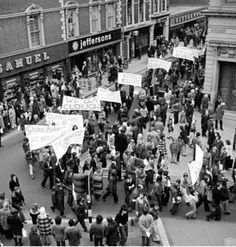 Protests in Derby by fans (and players) insisting on Brian Clough & Peter Taylor being reinstated