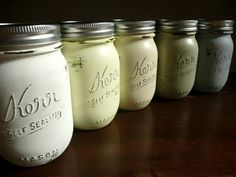 Hand Painted and Distressed Shabby Chic Mason Jars by BeachBlues on Etsy