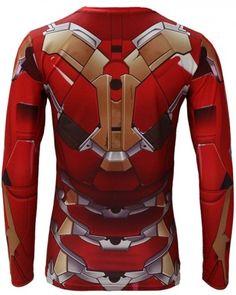 Avengers Age of Ultron Iron Man Armor t shirt long sleeve MK 45 red armor iron man costume
